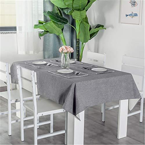 MMHJS Einfarbige Tischdecke Aus Baumwolle Und Leinen Wasserdicht Und Ölbeständig Tischdecke Aus Einfachem Stoff Rechteckige Tischdecke Auflage A 140x160cm -