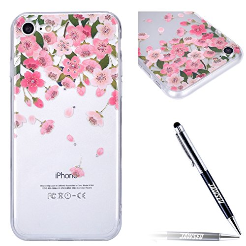 iPhone 7 Hülle,iPhone 7 Hülle,JAWSEU Kreative Inner Diamant Strass Blumen Mädchen Muster TPU Case Hülle Ultradünne Silikon Gel Schutzhülle Durchsichtig Bling Glänzend Glitzer Kristall Transparent Sili Pink Blütenblume