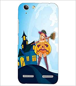 PrintDhaba Girl with Broom D-3288 Back Case Cover for LENOVO LEMON 3 (Multi-Coloured)