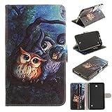 Skytar Housse pour Tab4 7 Pouces,Protection Samsung Galaxy Tab 4 7.0,Couverture en Cuir Flip Stand Case Coque étui pour Samsung Galaxy Tab 4 7.0 Pouces SM-T230/T231/T235,Chouette de Peinture
