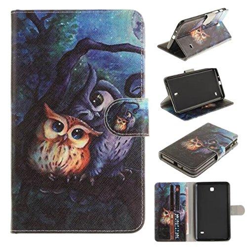 für Tab 4 7 Zoll,Galaxy Tab4 7.0'' Cover,Schutzhülle in PU Leder [Flip Stand Wallet] Case Cover für Samsung Galaxy Tab 4 7.0 Zoll SM-T230 T231 T235 Tablet Hülle,Malerei-Eule ()
