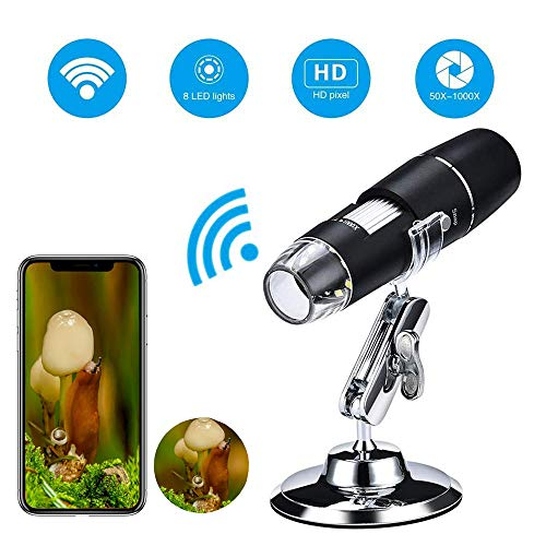 Mogattiny Wifi Digital Microscope, 1000x Handheld Wireless Magnification  Endoscope 8 LED Pocket USB Mini Zoom Microscope Endoscope with Stand for