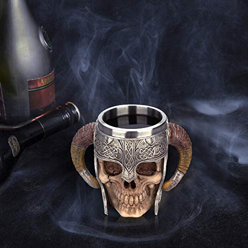 er, Edelstahl 3D Schädel Tasse, Edelstahl Schädel Kaffeetasse für Getränke, Kaffee, Bier, Blut Saft,Viking Krieger Schädel Rüstung Drinkware Becher, Party Trick Cup ()