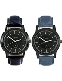 Talgo 2017 New Collection Foxter (combo Of 2) Black Round Shapped Dial Leather Strap Fashion Wrist Watch For Boys... - B0763T91YD