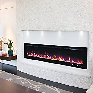 TruFlame 2018 NEW PREMIUM PRODUCT 72inch Black Wall Mounted Electric Fire with 3 colour Flames and can be inserted (Pebbles, Logs and Crystals)