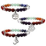 JOVIVI 3x Damen Herren 7 Chakra Armband Reiki Therapie Yoga-Armband Baum des Lebens OM Symbol Lotus Balance Stein Armband