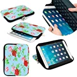 """Neotechs® Vintage Blue Flower Neoprene Pouch Sleeve Carry Case Cover Stand for Amazon Kindle 7"""" Fire HD HDX & Kindle Touch Paperwhite"""