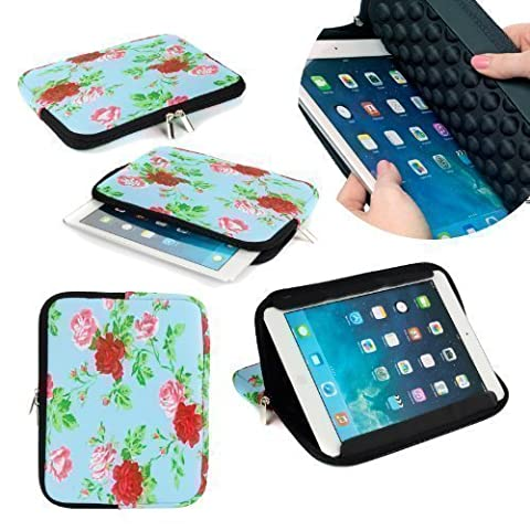 Neotechs® Vintage Blue Flower Neoprene Pouch Sleeve Carry Case Cover Stand for Samsung Galaxy Tab 2 & 3 10.1 Note 10.1