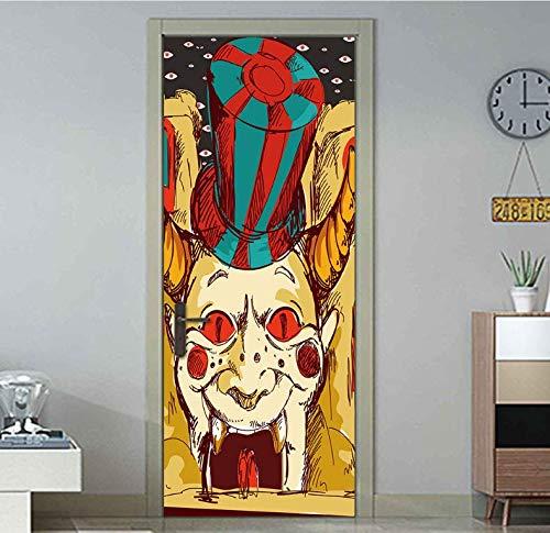 Großen mund horror Clown Halloween Kreative 3d tür aufkleber persönlichkeit holztür hause dekorative Wandaufkleber 77 * 200 cm