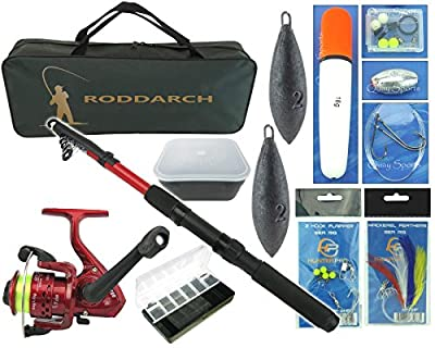 Junior Travel Sea Fishing Kit Set. Rod, Reel, Tackle, Tackle Box Weights & Bag from Roddarch