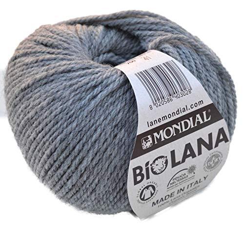 Lane Mondial Bio Lana BioLana Naturwolle Fb. 700 - grau, 50g Organic Wool, Biowolle, 100% Reine Schurwolle zum Stricken und Häkeln