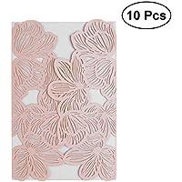 TOYMYTOY 10pcs Hueco de la flor de la boda tarjetas de invitación Tarjeta de papel y kit de la cubierta para el matrimonio de compromiso nupcial fiesta de despedida de cumpleaños H05 (rosa)