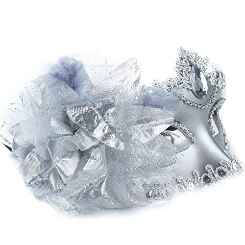 WWVAVA Maske Diamant venezianische Maske Venedig Feder Blume Hochzeit Karneval Party Leistung lila Kostüm Sex Lady Maske Maskerade, weiß