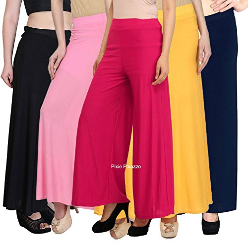 Pixie® Stylish Casual Wear Malai Lycra Pant Palazzo Combo Pack of 5 (Black, Baby Pink, Pink, Yellow and Navy Blue)