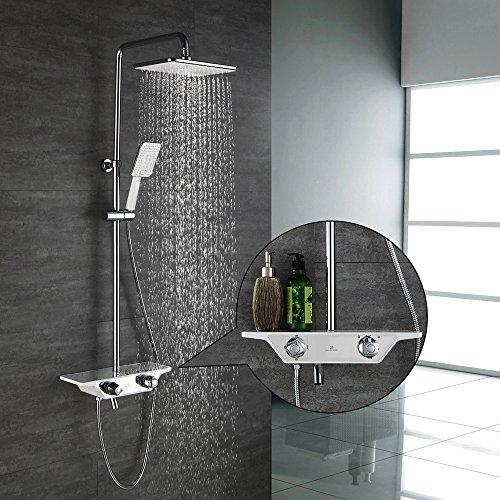 duschsystem regendusche Homelody 3-Funktion Duschsystem mit Thermostat Duscharmatur Duschset mit Rainshower Handbrause Duschkopf Regendusche Dusche Armatur und Duschablage Badewanne Brausethermostat