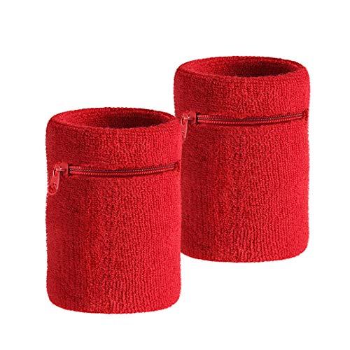 HOTER Sport Dick Solid Color Armband mit Reißverschluss/Wrist Wallet, Preis/Stück, Red(2Piece)
