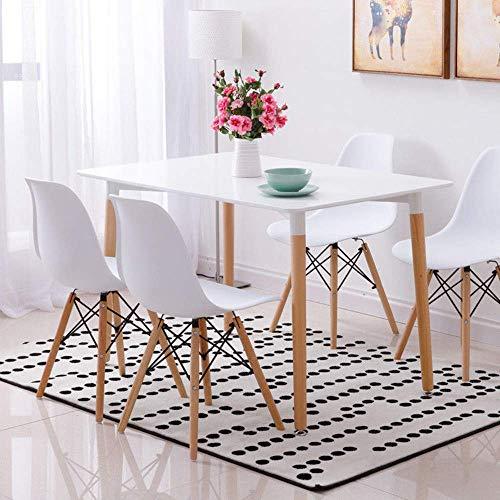 Conjunto de mesa de comedor con 4 sillas, color blanco