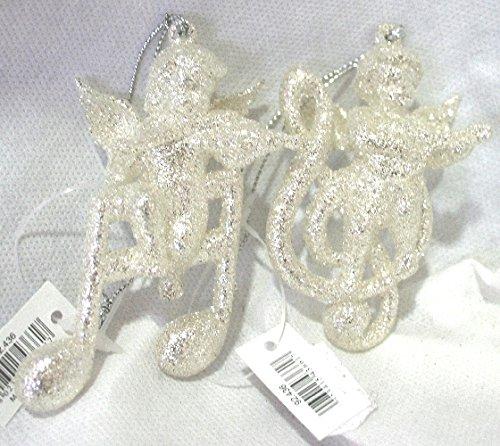 Decorazioni da appendere angioletto e note musicali con brillantini colore argento h 7 cm