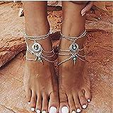 Yean Boho-Fußkettchen Türkis Strand Lagig Fußkettchen Silber Fußschmuck für Damen und Mädchen