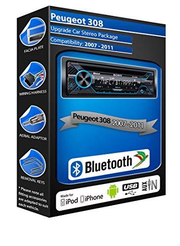 In Car Emporium Peugeot 308 Reproductor de CD, Sony MEX-N4200BT estéreo de...
