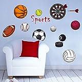 kuamai Divers Sports Dessin Animé Ball Mural Pour Chambres Enfants Football Basket-Ball Volley-Ball Baseball Fléchettes Stickers Décoratif Mural
