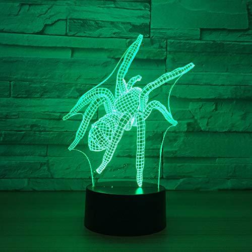 Werewtr 3D Night Light Spinnenmodell 3D Visuelle Led-Licht Touch-Schalter 7 Farbwechsel 3D-Licht Led 3D Nachtlicht Kinderspielzeug Gif