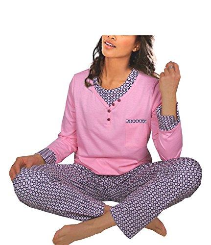 Damen Pyjama Schlafanzug Baumwolle Langarm DW192 44/46
