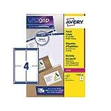 Avery L7169 Étiquettes autocollantes pour adresse postale (Étiquettes à code barres FBA), imprimantes laser, 4 étiquettes par feuille A4, 400 étiquettes, UltraGrip...