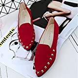 Dragon868 Fashion Womens Rivet Boat Shoes, Ladies Soft Comfy Slip-On Casual Flats Shoes (6 UK, Red)