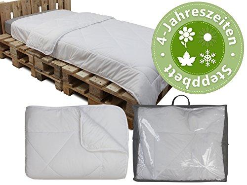 4-Jahreszeiten Steppbett - geprüft nach Öko-Tex Standard 100 - erhältlich als Ganzjahresbettdecke in 3 verschiedenen Größen, 155 x 220 cm