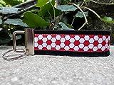 Schlüsselanhänger Schlüsselband Wollfilz schwarz Fußball weiß rot!
