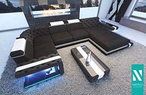 NATIVO DESIGNER SOFA IMPERIAL XL MIT LED BELEUCHTUNG Couchgarnitur Eckgarnitur Polstergarnitur