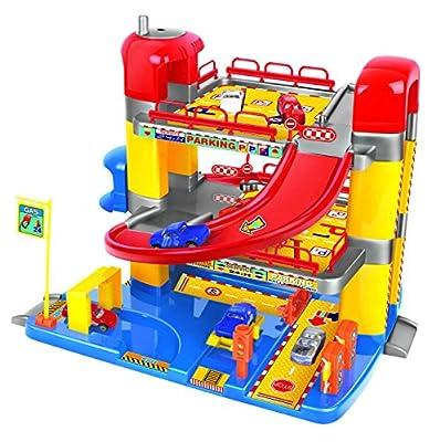Spielzeug-Parkhaus für Kinder mit drei Etagen - Mit funktionierendem Aufzug und 6 Autos von Inside Out Toys