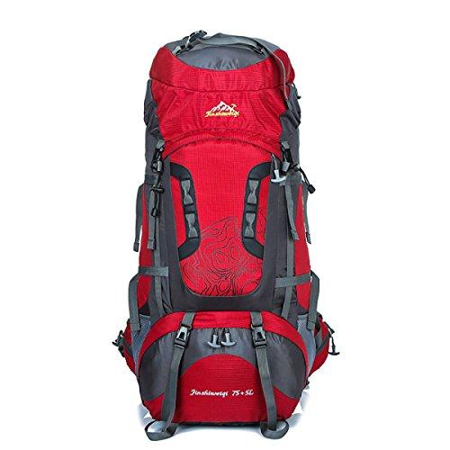 Outdoor Sport Klettern Tasche 80L Großer Kapazität Bergsteigen Rucksack Mit Stent Red