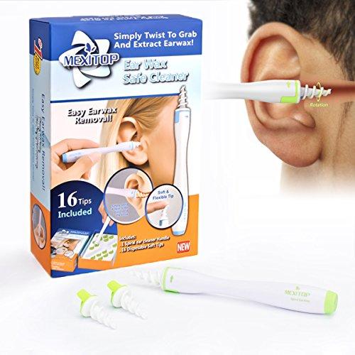 *Ohrenreiniger Ohrenschmalz Entferner Ohrwachs Entfernungs Ohr Schmalz Reiniger Spiralreinigungssystem mit 16 entfernbaren Silikon- Aufsätzen für Kleinkinder, Babies, Jugendliche und Erwachsene + Extra Ohrenstopfer zur Soundverringeringerung von MEXITOP (grün)*