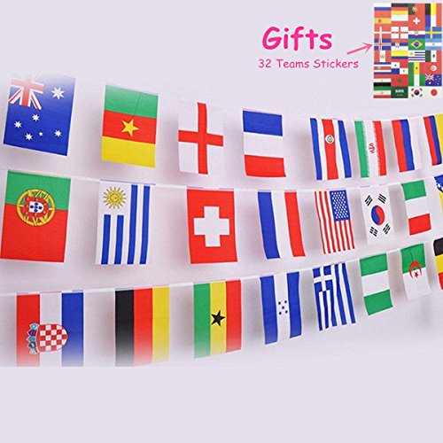 chnur Weltcup, Gruppe Spiel 32 Teams Land Fußball Dekoration Banner für Restaurants, Sports Bars, Party Spiel - 8m 32 Flaggen (21 x 14 cm) (Party-shop Sf)