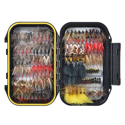 120 Stück Forellen Angel-Fliegen Kunstköder Set - Trockenfliegen, Nassfliegen, Nymphe, Streamer und Emerger Fliegenfischen köder schachtel mit Taschen