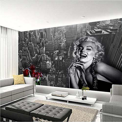 Moderne Einfache Schwarzweiß Gebäude Marilyn Monroe Fototapete Wohnzimmer Restaurant Einkaufszentrum Dekor Wandbild 3D Fresko 350(W)x256(H)cm