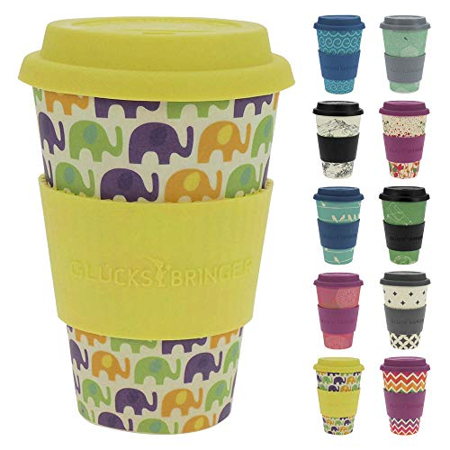 ebos Glücksbringer Coffee-to-Go-Becher aus Bambus | Kaffe-Becher, Trink-Becher | wiederverwendbar, natürliche Materialien, umweltfreundlich, lebensmittelecht, spülmaschinengeeignet (Elephant Love)