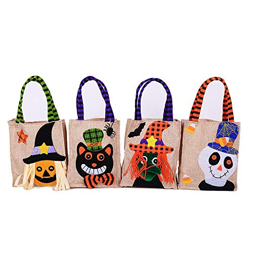 (Halloween Dekoration Cartoon Kürbis Burlap Tote Tasche Ghost Festival Party Dress Up Requisiten Kinder Candy Bag 4 Stück,A,Single16*29Cm)