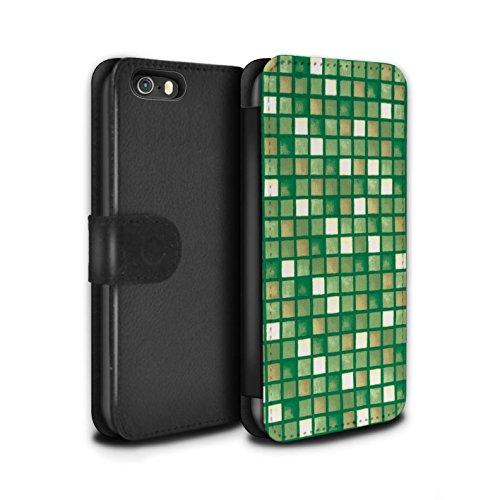 Stuff4 Coque/Etui/Housse Cuir PU Case/Cover pour Apple iPhone SE / Pack (15 modèles) Design / Carreau Bain Collection Vert/Brun