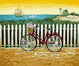 CYHLG Malen Nach Zahlen Erwachsene Kinder Seelandschaft Sonnenuntergang Fahrrad DIY Handgemalt Ölgemälde Auf Leinwand Geschenk Malen Nach Zahlen Kits Home Haus Dekor - Ohne Rahmen 40 x 50 cm