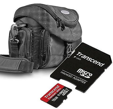 Kit Mantona Premium System Tasche schwarz + Speicherkarte Transcend Micro SDHC 16GB Class 10 (mit Adapter)