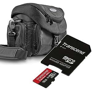 Kit Mantona Premium System Tasche schwarz + Speicherkarte Transcend Micro SDHC 16GB Class 10 (mit Adapter) !