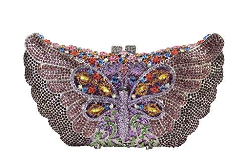 Yilongsheng Ladies Dazzling soirée de bal Sacs avec coloré papillon strass violet