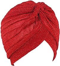 QHGstore Mujeres Twist plisado volante Chemo Pre atado Turbante Cap abrigo de pelo Cover Up rojo