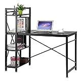 Blackpoolal Schreibtisch Computertisch Bürotisch mit Bücherregal Arbeitstisch Esstisch Regal Computerschreibtisch 121 x 60 x 120cm Holz Schwarz