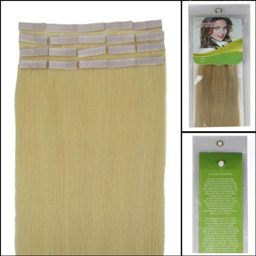 45,7 cm Bandes adhésives Extensions de cheveux humains droite Couleur 613 Blond clair 40 g 20 pièces Beauté Cheveux Style