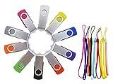 FEBNISCTE 10 Stück USB Sticks 2GB Mehrfarbige USB 2.0 Speicherstick(Schwarz, Blau, Grün, Lila, Rot, Weiß, Grau, Orange, Gelb, Rose)