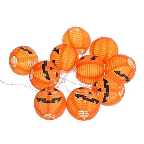 JIANGFU Halloween dekorative Lichtschnur,Kürbis 10 LED String Lights Halloween Dekoration Lichter Warm (Luftballons Gesicht Kürbis Leuchten)